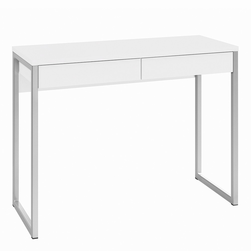 Function Plus Office Desk 2 Drawers in White High Gloss