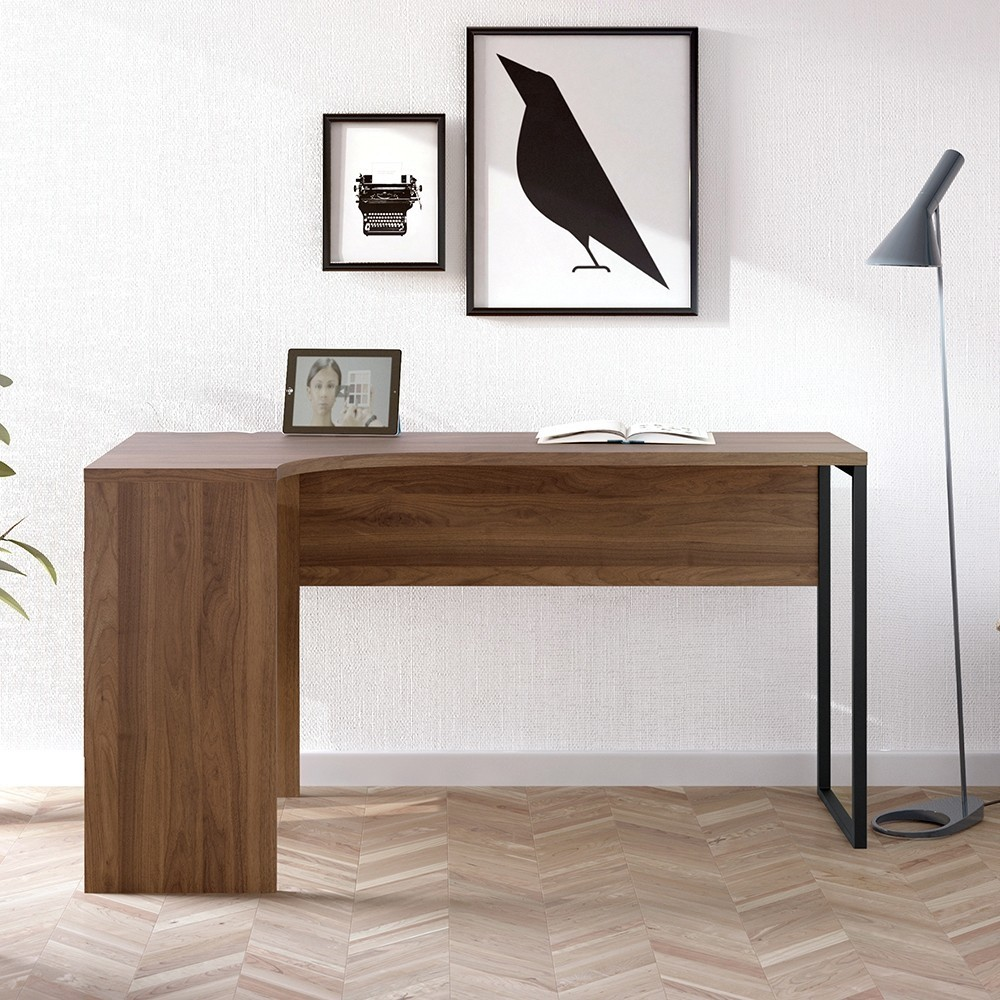 Function Plus Corner Office Desk 2 Drawers in Walnut
