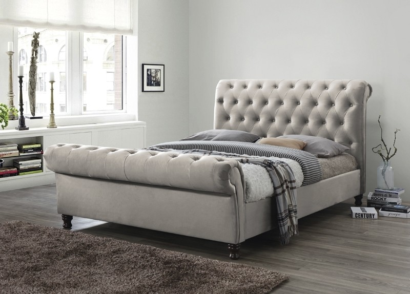 Champagne 5ft Fabric Upholstered Bed