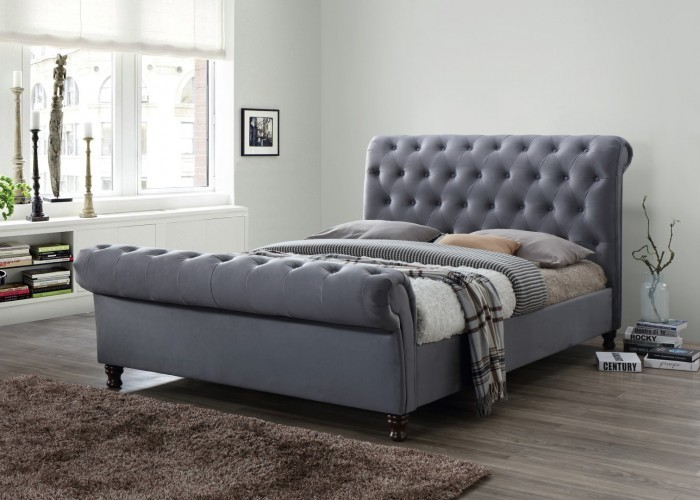 Grey Fabric Upholstered 5ft Bed