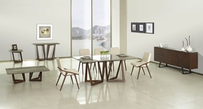 Veneto Marble Dinning Table & Set of 4 Chairs