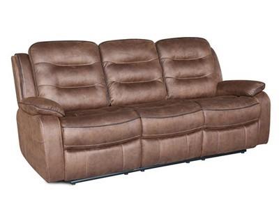 3 Seater Recliner Brown Fabric Sofa