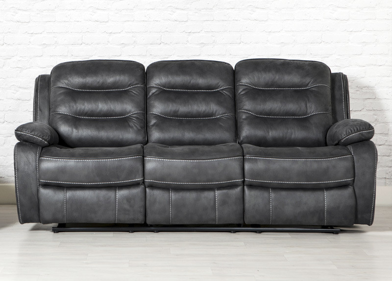 3 Seater Recliner Slate Fabric Sofa