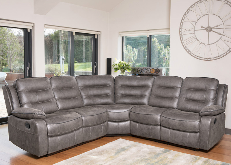 Corner Group Grey Fabric Sofa