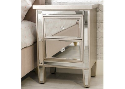 2 Drawer Mirrored Chest Champagne