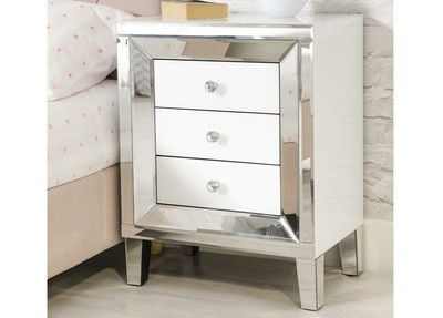 Mirrored 3 Drawer Bed Side Table