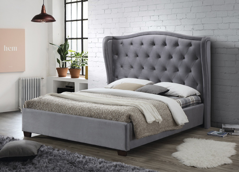 Grey Modern Double Upholstered Fabric Bed