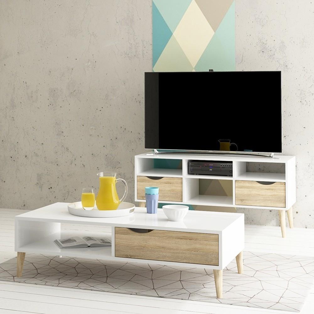 Oslo Wide TV Unit in White and Oak