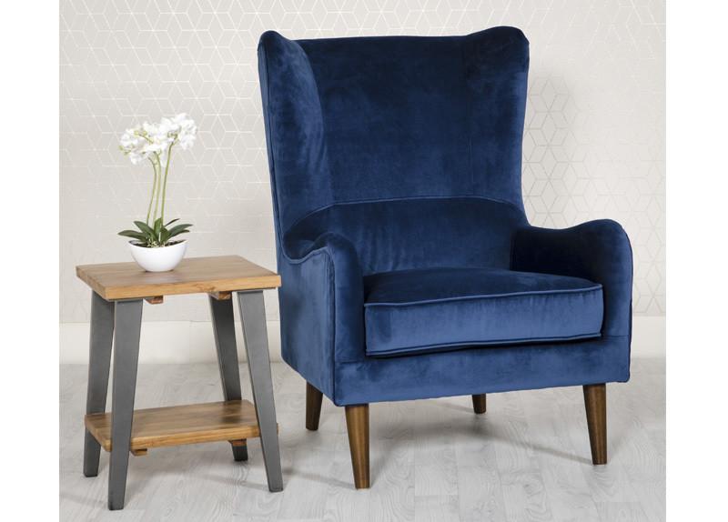 Valvet Blue Accent Chair