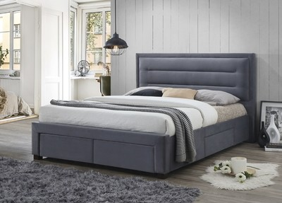 Fabric Storage King Size Bed in Grey