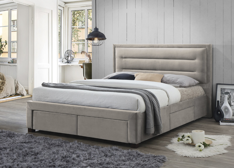 Fabric Storage King Size Bed in Champagne