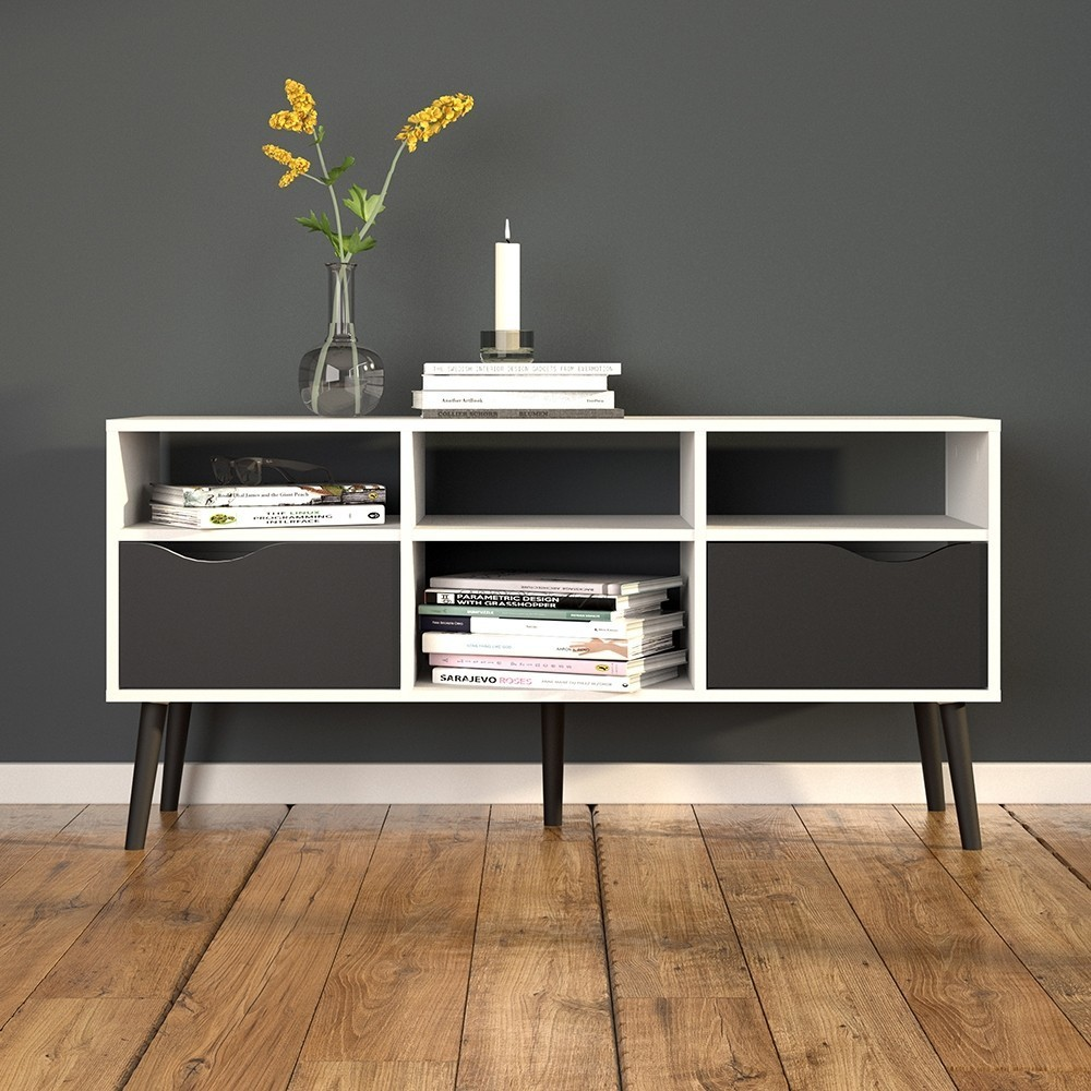 Oslo Wide TV Unit in White and Black Matt