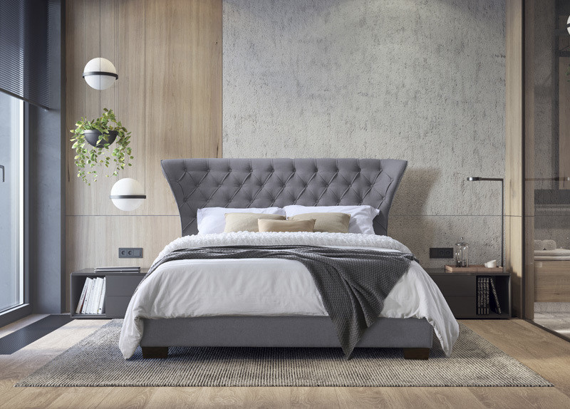 Grey Modern Double Ottoman Fabric Bed
