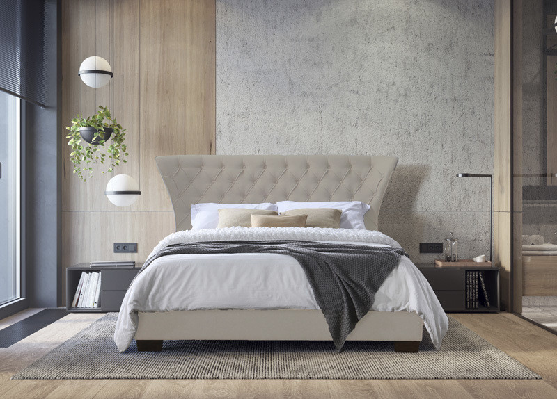Modern Double Ottoman Fabric Bed in Champagne