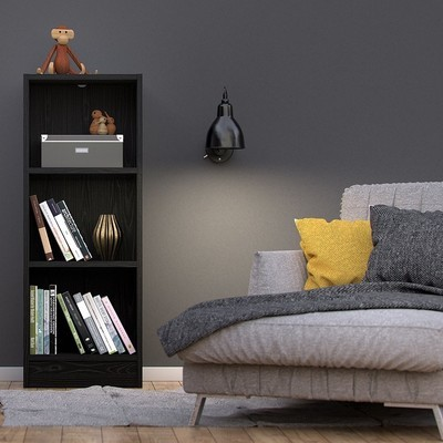 Basic Black Woodgrain 2 Shelves Bookcase