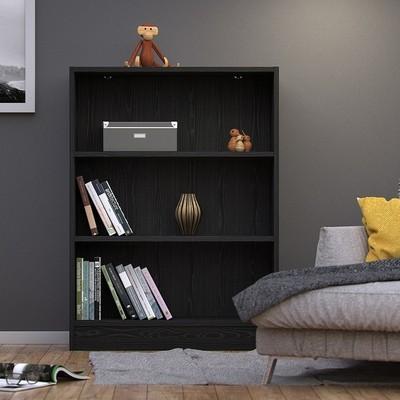 Basic Wide Black 2 Shelves Bookcase