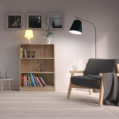 Basic Oak Wide 2 Shelves Bookcase
