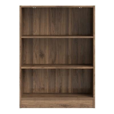 Basic Wide Walnut 2 Shelves Bookcase