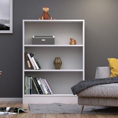 Basic White 2 Shelves Wide Bookcase