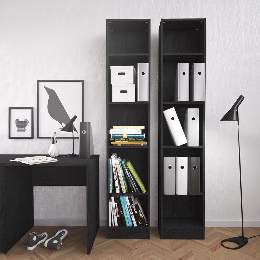 Basic Black Tall 2 Shelves Bookcase