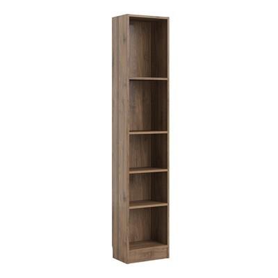 Basic Walnut Tall 4 Shelves Bookcase