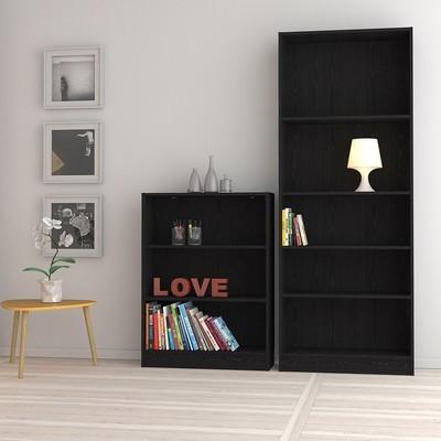 Basic Black Tall Wide 4 Shelves Bookcase