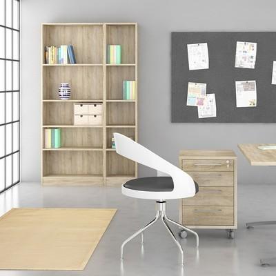 Basic Oak Tall Wide 4 Shelves Bookcase