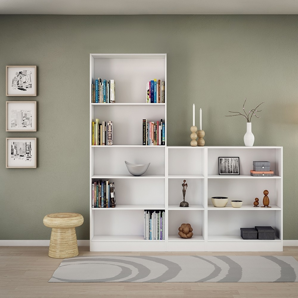 Basic White Tall Wide 4 Shelves Bookcase