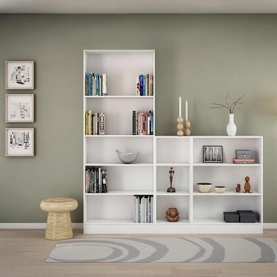 Basic White Tall Wide 4 Shelves Bookcase