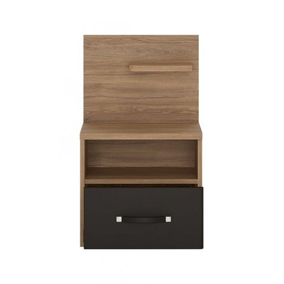 Monaco Oak & Black One Drawer Open Shelf Bedside