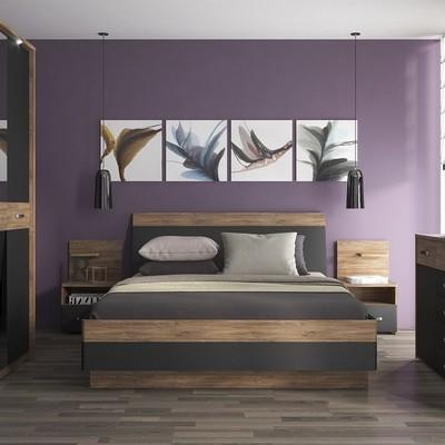 Monaco Oak & Black Bed