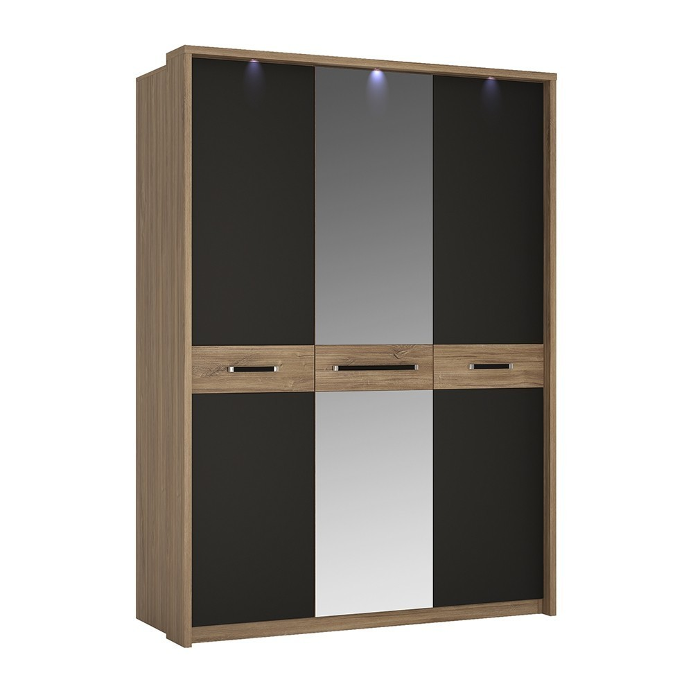 Monaco Oak & Black Triple Door Wardrobe Mirrored Door