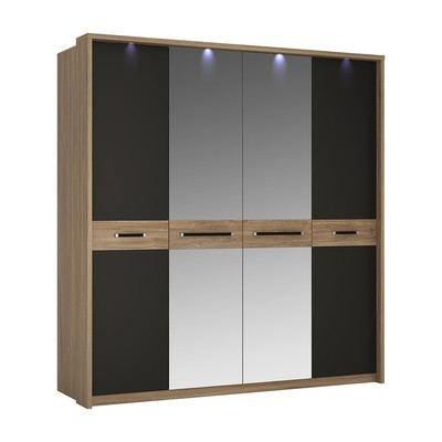 Monaco Oak & Black Four Door Wardrobe Mirrored Door