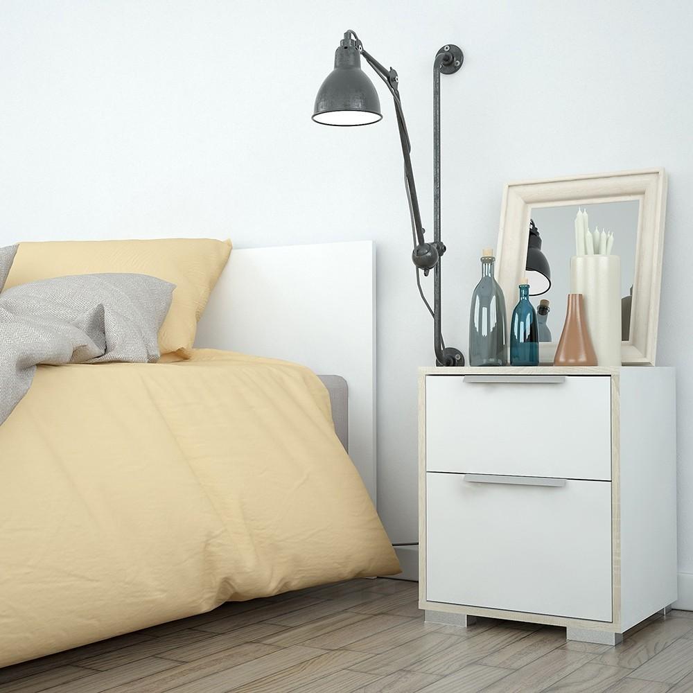 Line White & Oak 2 Drawer Bedside Table