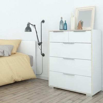 Line White & Oak 5 Drawers Chest