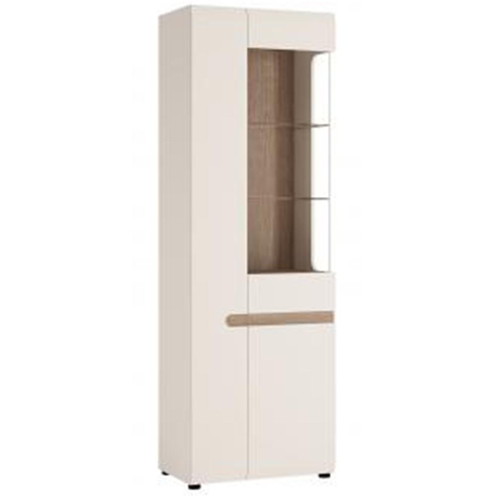 Chelsea White Tall Glazed Narrow Display Unit