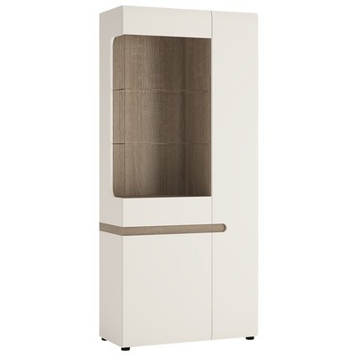 Chelsea White Tall Glazed Wide Display Unit
