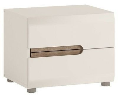 Chelsea White Double Drawer Bedside