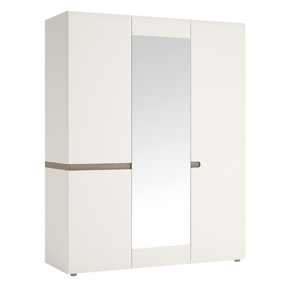 Chelsea White Triple Door Wardrobe Mirrored Door