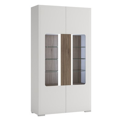 Toronto White Tall Double Door Glazed Display Cabinet