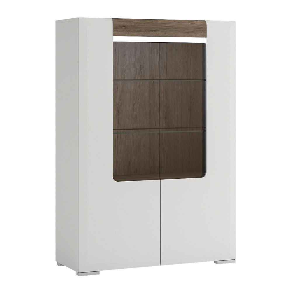 Toronto White Low Glazed Double Door Display Cabinet