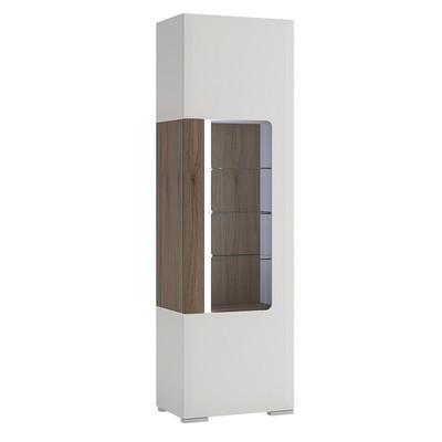 Toronto White Tall Narrow Glazed Display Cabinet