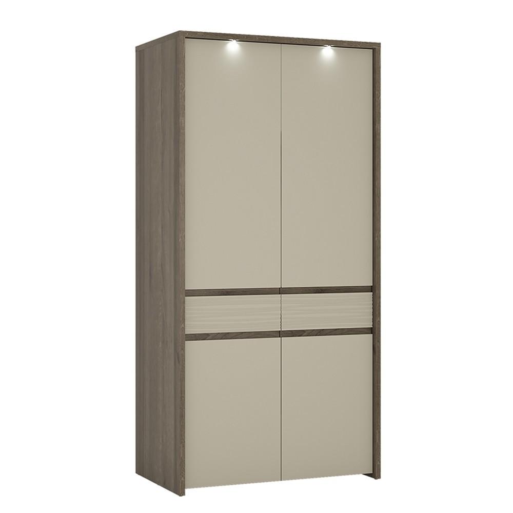Aspen LED Riviera Oak 2 Door Tall Wardrobe