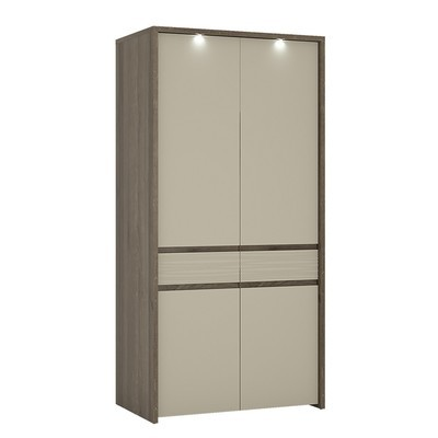 Aspen LED Riviera Oak 2 Door Tall Wardrobe