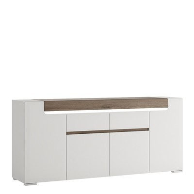 Toronto White Wide Four Door Double Drawer SIdeboard