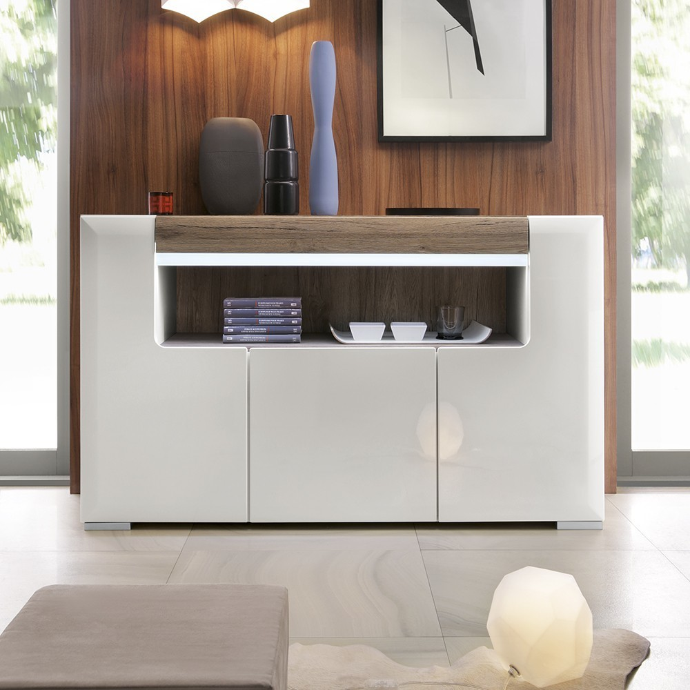 Toronto White Triple Door Open Shelf Sideboard