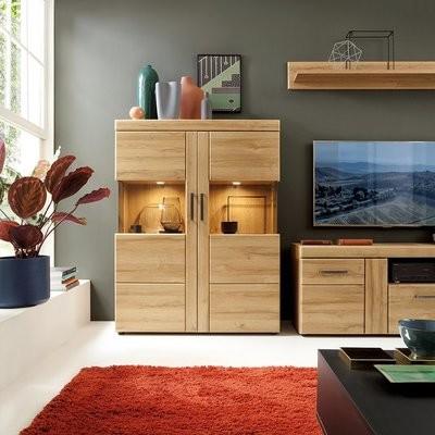 Cortina Oak Wide Double Door Display Cabinet