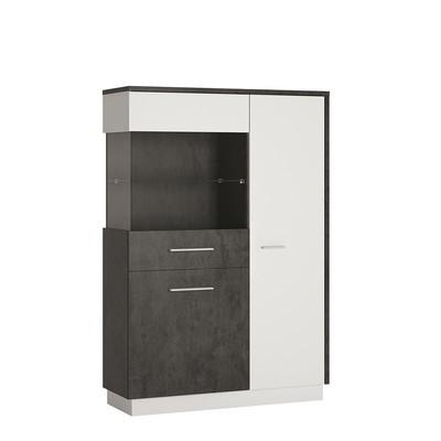 Zingaro Slate Grey & White Wide Display Cabinet