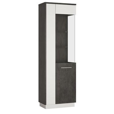 Zingaro Slate Grey & White Tall Glazed Display Cabinet