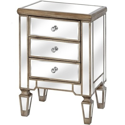 Belfry Three Drawer Mirrored Bedside
